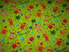 "Robert Kaufman MONKEY ""ANIMALS GONE WILD"" 7156 Fabric Nancy Wolff 44""W x 6 YARDS"