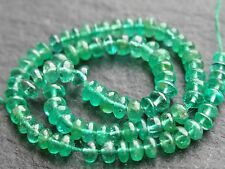 "HAND SHAPED ZAMBIAN EMERALD RONDELLES, 2.5mm - 2.9mm, 6"" strand, 96 beads, 8ctw"