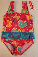 NEW Baby Girls Bathing Suit 12 Mo Pink Butterfly Swim Wear Tutu Hearts One Piece