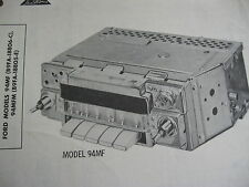1959 FORD 94MF ( B9FA-18806-C ) & 94MFM ( B9FA-18805-E ) RADIO PHOTOFACT