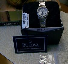 WOMENS BULOVA 96R19 16 REAL DIAMONDS CHRONOGRAPH WATCH WHITE DIAL STAINLESS