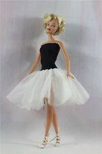 classical Black White Ballet Skirt tutu Dress outfit clothes For Barbie Doll