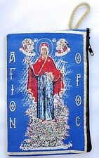 Gold Tapestry BLESSED VIRGIN MOTHER  Catholic Icon Rosary Pouch Case from Turkey