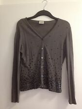 Ladies Next Grey Long Sleeves Sequin Fine Knit Wool Mix Cardigan - Size 10