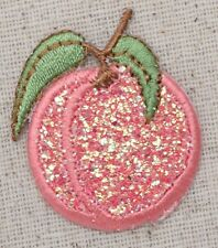 Iron On Embroidered Applique Patch Fruit Sparkle Glitter Pink Peach