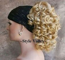 Blonde Mix Ponytail Hairpiece Medium Curly Claw Clip in/on Hair Piece Extension