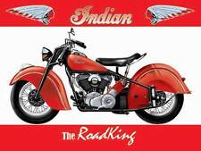 Indian Road King Motorcycle, Classic American Motorbike, Large Metal/Tin Sign