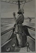 Harper's Weekly, 1876. On A River Steamer, India. Wood Engraving.