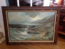 Vintage estate oil painting by artist Engel Seascapeboat gorgeous colors signed