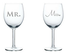 Pair of Wine Glasses White or Red Wine 10oz Mr. & Mrs. Wedding Anniversary Gift
