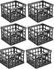 Sterilite Plastic Black Storage Box Milk Crate Containers Home (6 Pack) 16929006