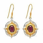 De Buman Sterling Silver Genuine Ruby and Diamond Earrings