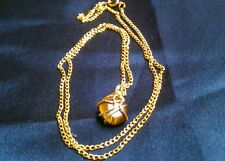 Brass wire wrapped Tigers Eye pendant Delicate golden chain NECKLACE Boho Chakra