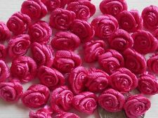 100! Gorgeous Satin Ribbon Roses - 10MM - Deep Rose Pink Floral Embellishments!