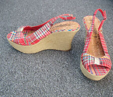 New Look Checked Material Wedge Sandals Size 7/40