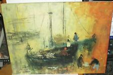 PATRICIA CUNNINGHAM FISHERMAN BOATS PRINT ON CANVAS PAINTING