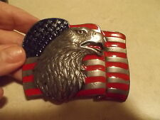 EAGLE AND USA FLAG MENS BELT BUCKLE BY SISKIYOU ,MADE IN USA 1990