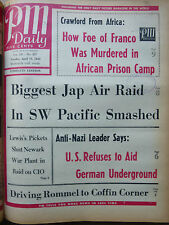 WWII APRIL 13 1943 BIGGEST JAP AIR RAID IN SW PACIFIC ROMMEL PM DAILY NEWSPAPER