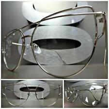 Women EXAGGERATED VINTAGE RETRO Style Clear Lens EYE GLASSES Silver Chrome Frame