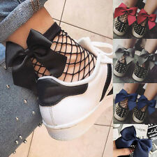 Women Ruffle Lovely Bow Fishnet Ankle High Socks Mesh Lace Fish Net Short Socks