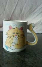 Cat coffee tea cup mug handle is in a cat tail shape Japan kitty Lets' do Lunch