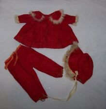 """Vintage Red Wool Fur Trim Outfit Coat Pants Hat  Fits 15""""-16"""" Toddler Type Dolls"""