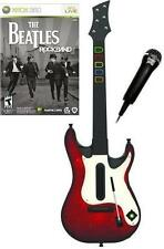 NEW Xbox 360 Guitar Hero 5 Wireless Guitar, Beatles Rock Band Game & Mic Bundle