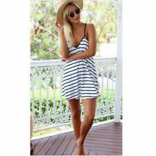 Summer Party Dress Sleeveless Stripe Pattern Cocktail Casual Evening Dress XL