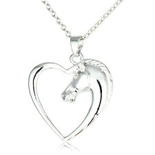 New Fashion Charm Heart Horse Animal Silver Head Pendant Necklace Jewelry Party
