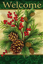 """HOUSE FLAG-""""WINTER PINE"""" Double Sided WELCOME Pine Cones Berries 29 x 43 Flag"""