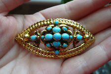 Superb Georgian Turquoise and 18 Carat Gold Mourning Brooch