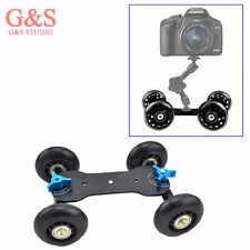 4 Wheel Desktop DSLR Camera Photography Rail Track Slider Table Dolly Car black