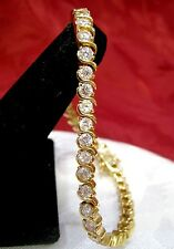 """NWOT 925 STERLING SILVER GOLD TONE CRYSTAL ROUND STONE TENNIS BRACELET 7.25"""""""