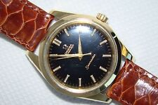 1958 Omega Seamaster Black Dial Rose Gold Capped Cal 501 BIG Seahorse Logo Watch