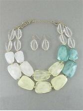 TWO LAYERS YELLOW , MINT AND WHITE LUCITE BEAD GOLD CHUNKY NECKLACE EARRING