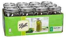12 Ball Wide Mouth 32 oz Quart Mason Jars Preserve Canning Jar w/ Lids Gift New