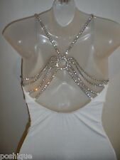 Sky Clothing Brand M Top White Open Back Rhinestone Crystal Club Party Vegas