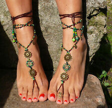 FOREST MANDALA barefoot SANDALS foot jewelry hippie sandals toe anklet beaded