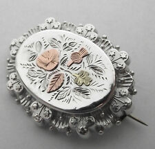 GORGEOUS ANTIQUE SILVER & GOLD BRITISH ISLES BROOCH PIN WITH LOCKET BACK