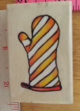 Rubber Stamp Wood Sugarloaf Striped Hot Oven Mitt BBQ Kitchen Picnic Cook Invite