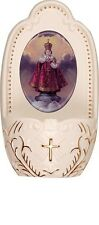 "Porcelain Infant of Prague baby Jesus small Holy water font 5"" florentine gift"