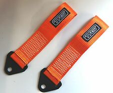 Pair of TRS Competition Car Tow Loop Strap Eye Orange MSA compliant