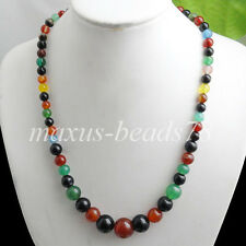 "Fashion 6~14mm Multicolor Agate Gemstone Round Beads Necklace 17.5 "" MF105"