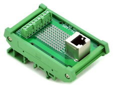 RJ45 8P8C DIN Rail Mount Interface Module, Vertical Jack.