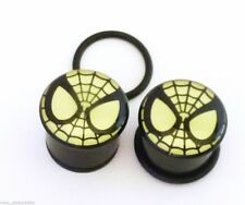 "PAIR-Spiderman DC Comics Glow Acrylic Single Flare Plugs 11mm/7/16"" Gauge Body J"