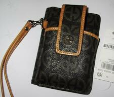 GIANI BERNINI ~ $69 AUTHENTIC BROWN LOGO UNIVERSAL CELL PHONE CASE WRISTLET NWT