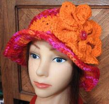 Red Orange Purple SPRING WINTER  CLOCHE BEANIE CAP FLAPPER HAT  HAND CROCHET new