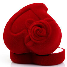 Red Love Heart Shaped Ring Box Velvet Retail Jewelry Package Boxes Gift