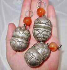 3 Big Antique Chinese Silver Bell Pendants w/ Carnelian Agate Beads (81.9 grams)
