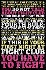FIGHT CLUB RULES MOVIE (LAMINATED) POSTER Brad Pitt Edward Norton NEW Licensed